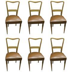 Set of Six Italian Mid-Century Modern Chairs Designed by Pier Luigi Colli, 1950