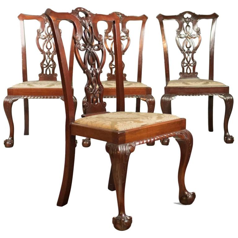 Antique Chippendale Dining Room Furniture: Set Of Four Antique Dining Chairs, Victorian Chippendale