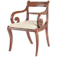Charming Regency Sabre Leg Elbow Chair