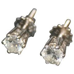 Pair of Single Stone Diamond 18-Carat White Gold Ear Studs