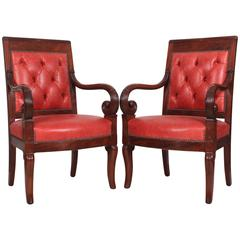 Pair of French Empire Style Mahogany Library Chairs