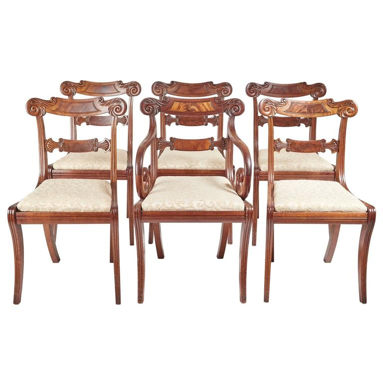 Fine Set Of Six Regency Dining Chairs For Sale At 1stdibs