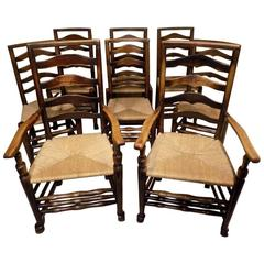 Good Set of Eight Ash Early 19th Century Ladder Back Dining Chairs