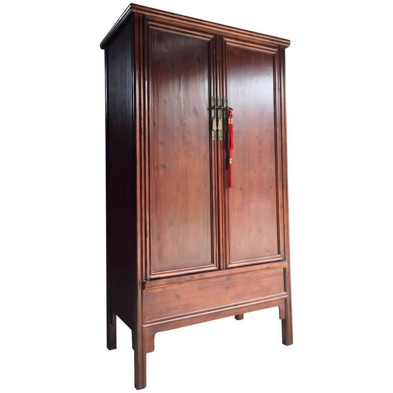Antique style chinese wardrobe cupboard cabinet stained for Oriental cupboard