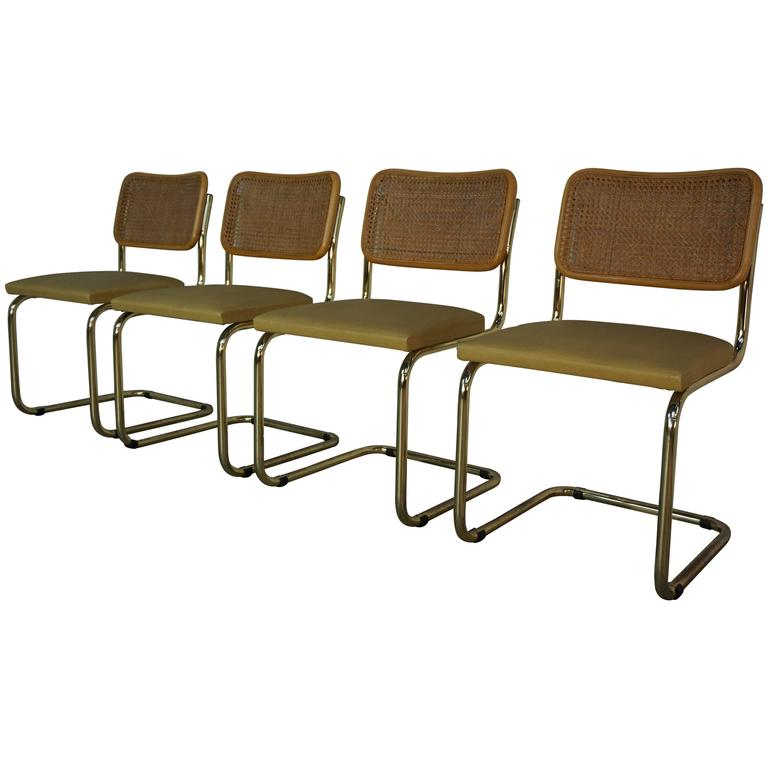 Set of Four Cesca B32 Gold Chairs Design Marcel Breuer at 1stdibs