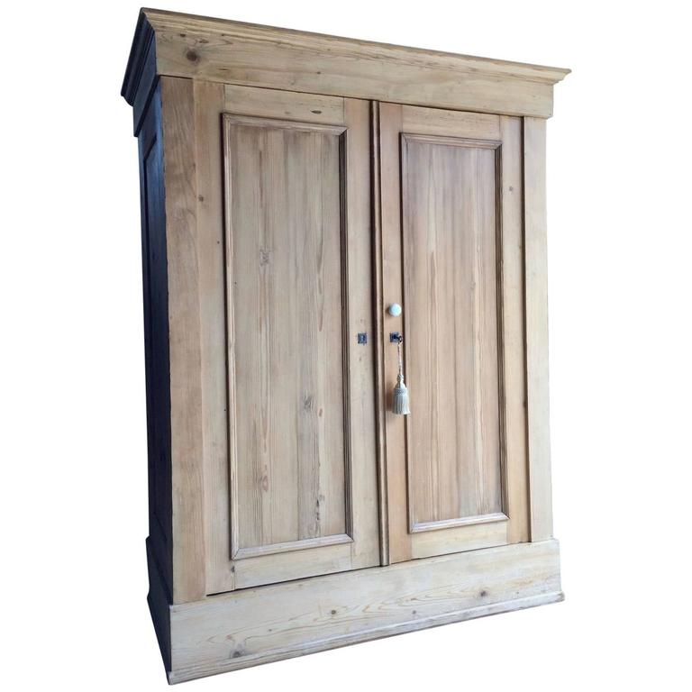 antique french wardrobe armoire cupboard rustic solid pine. Black Bedroom Furniture Sets. Home Design Ideas