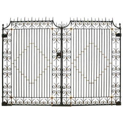 Pair of Reclaimed Wrought Iron Driveway or Entrance Gates