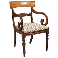 Antique Scroll Armchair, Regency Mahogany, circa 1830