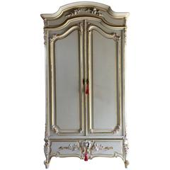 Antique Style French Armoire Wardrobe Painted Gilded Mirrored Large