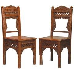 Pair of Middle Eastern Carved Hardwood Side Chairs