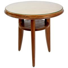 Mid-Century Beech Side Table Attributed to Jules Leleu