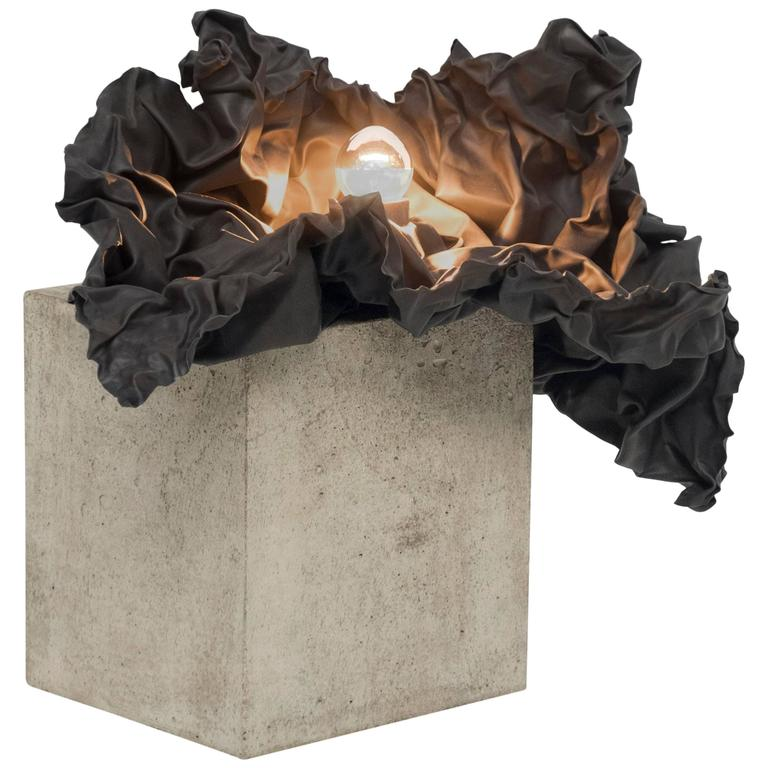 Contemporary Study in Permanence II Table Lamp, Jamesplumb in Concrete and Lead For Sale