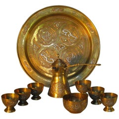 Cairoware Brass, Silver and Copper Inlaid Coffee Set