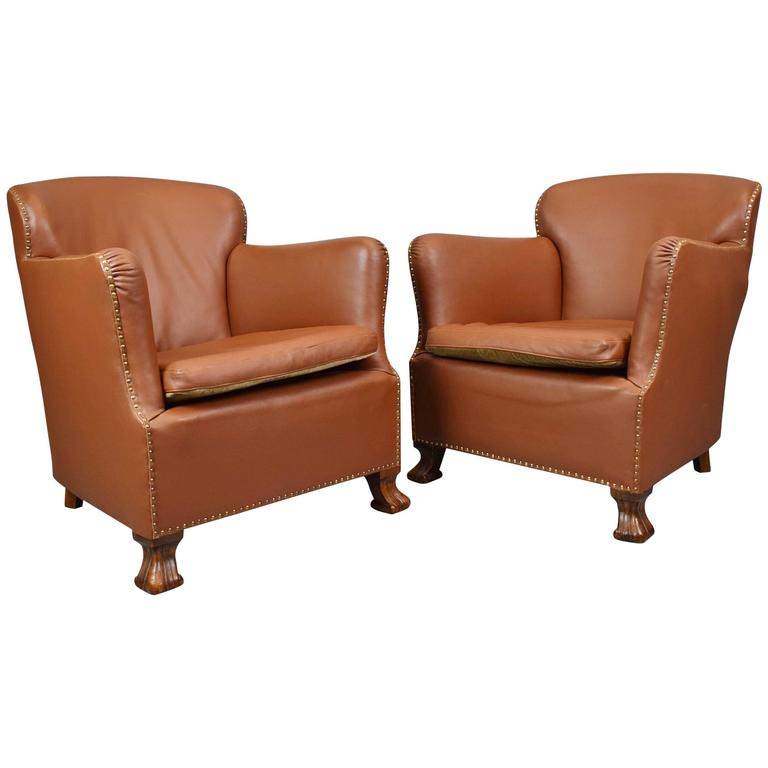 1 of 2 french art deco mid century vintage tan brown leather lounge club chair at 1stdibs - Deco lounge grijs en beige ...