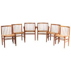Set of Six Dining Chairs by Jørgen Bækmark for FDM Møbler in Denmark, 1950s