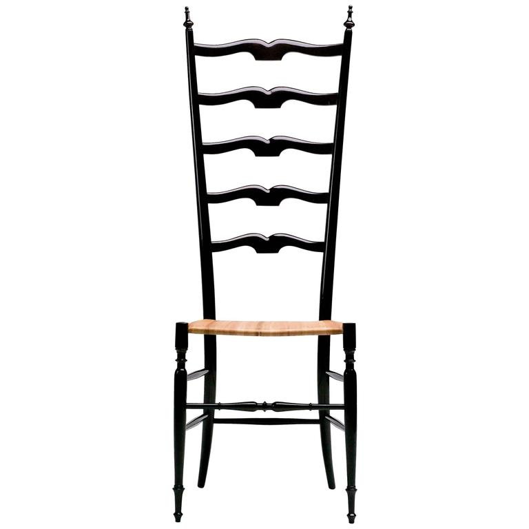 1950s Italian High Back Lacquered Chiavari Chair