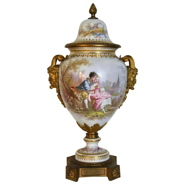 Antique Classical Sevres Urn with Gilt Bronze