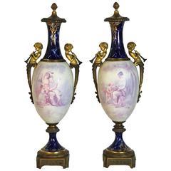 Antique French Figural Bronze Sevres Marbleized Urn