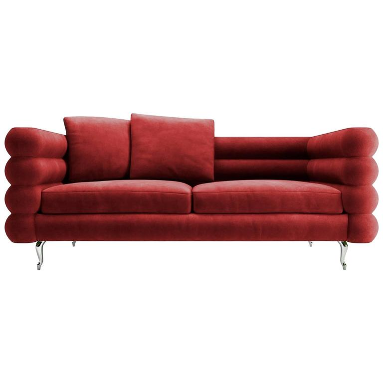 Moooi Boutique Botero Sofa In Red Velvet For