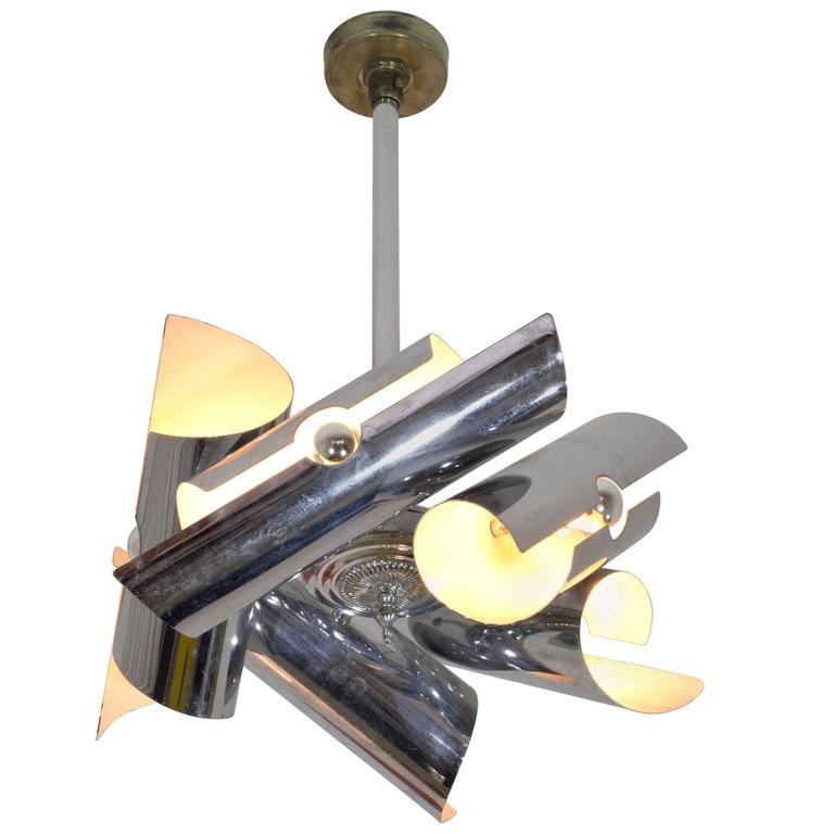 Italian Vintage Chrome Pendant Light, 1970s
