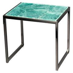 Hyaline Green Quartz Side Table by Giuliano Tincani, Made in Italy