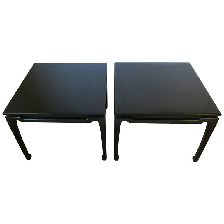 Pair black lacquer wood end tables for sale at 1stdibs for Black wood end tables