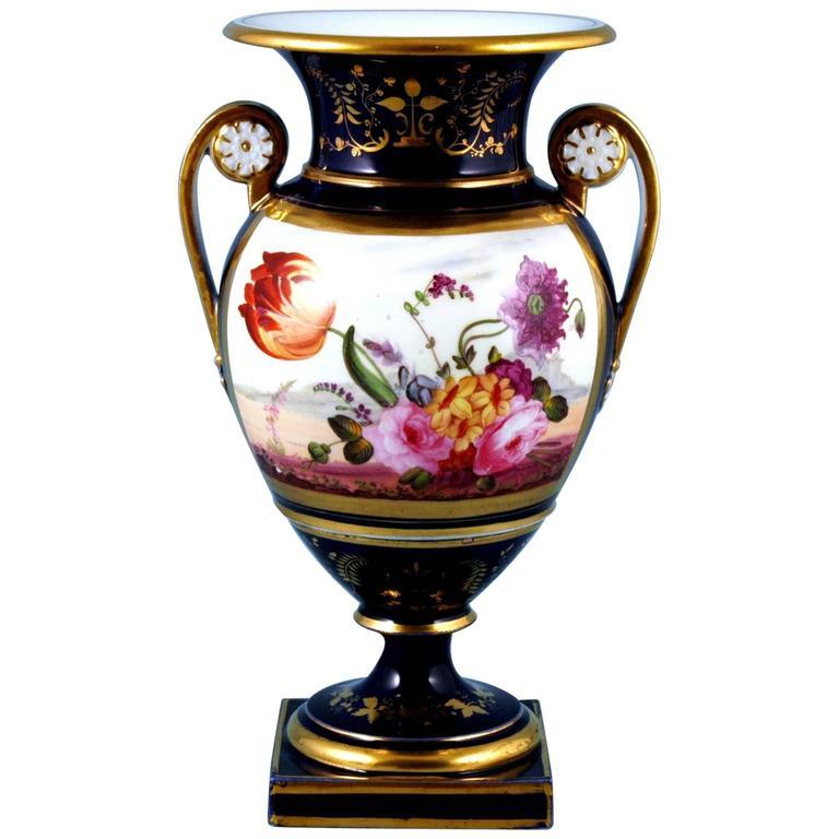 English Porcelain Botanical Blue Ground Vase, Coalport, circa 1825 For Sale