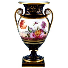 English Porcelain Botanical Blue Ground Vase, Coalport, circa 1825