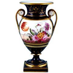 English Porcelain Botanical Blue Ground Vase, Coalport, circa 1825