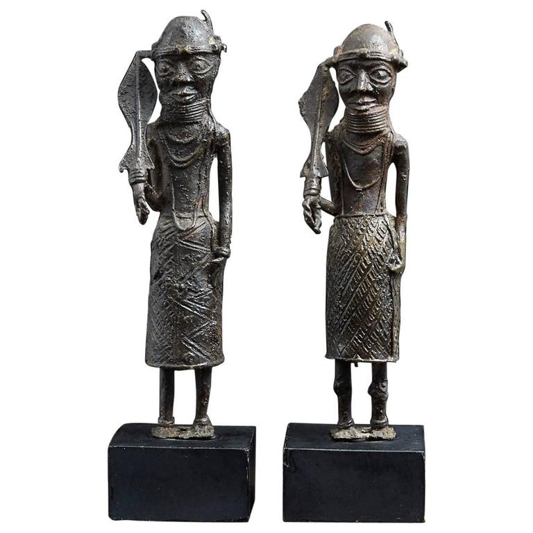 Pair of Benin Iron Warrior Statues For Sale