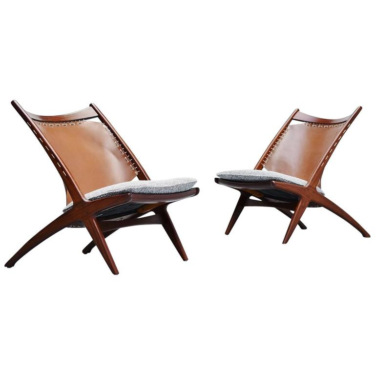 Frederik Kayser Krysset Chairs, Gustav Bahus, Norway, 1955 For Sale