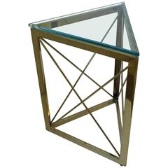 Modern Triangle Brass and Glass Side Table