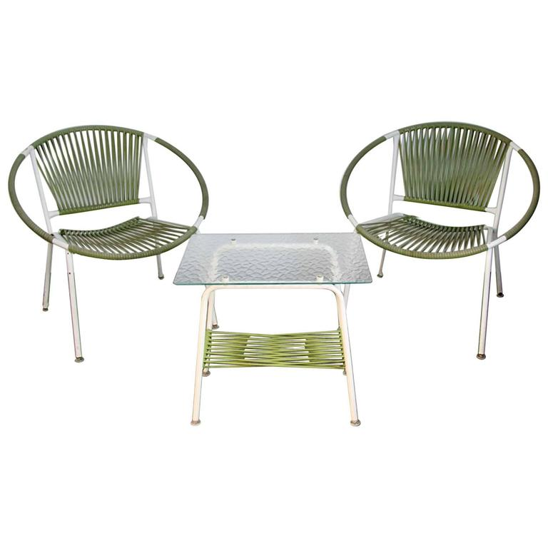Modernist Pair Of Hoop Chairs With Pebble Glass Snack Table Patio Set For Sal