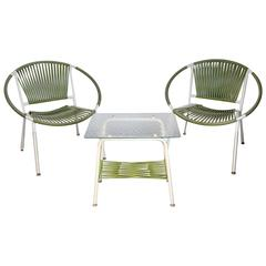 Modernist Pair of Hoop Chairs with Pebble Glass Snack Table Patio Set