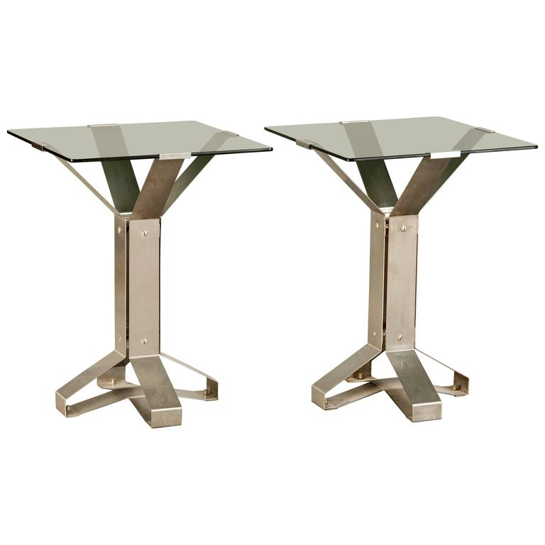 Pair of Chrome and Glass Coffee Tables For Sale