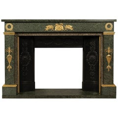 Empire Style Gilt Bronze-Mounted Green Granite Fireplace, French, circa 1850