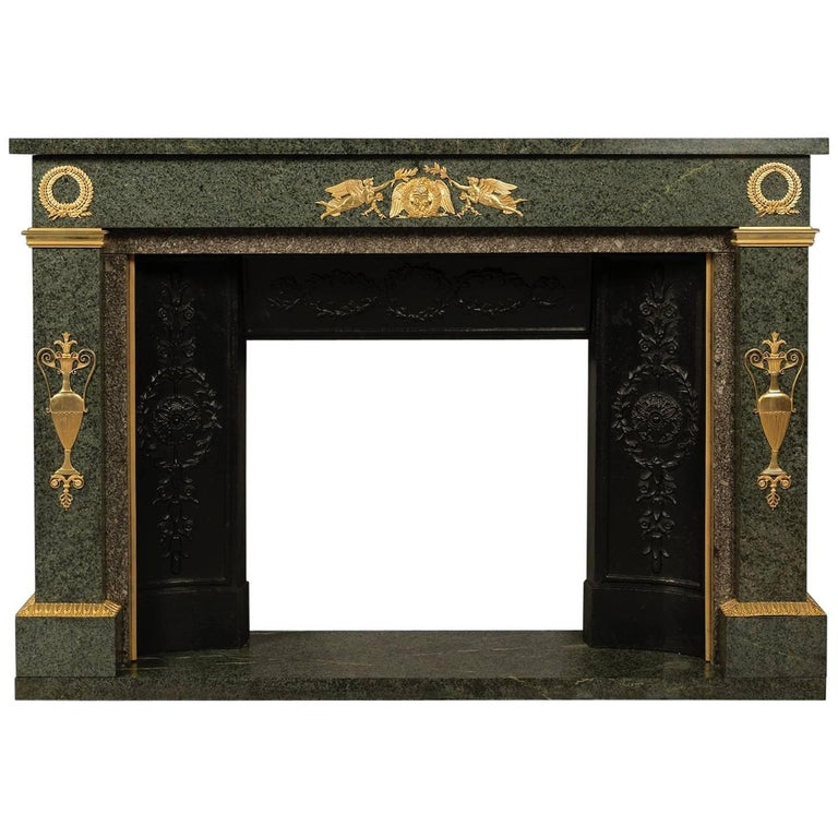Empire Style Gilt Bronze-Mounted Green Granite Fireplace, French, circa 1850 1