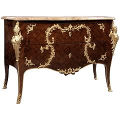 Louis XV Style Gilt Bronze-Mounted Parquetry Commode, French, circa 1880