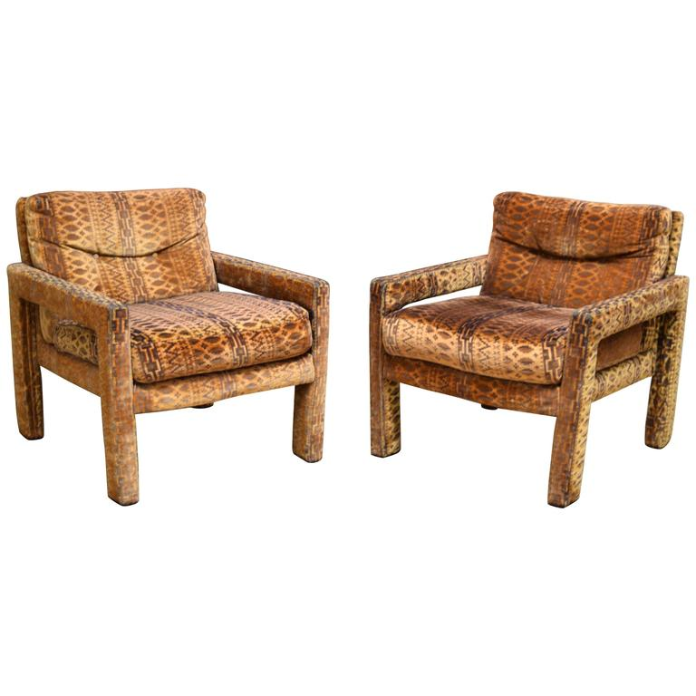 Style of milo baughman parsons chairs at 1stdibs for What is a parsons chair style