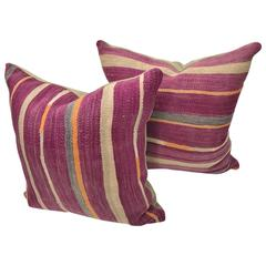 Pair of Custom Pillows Cut from a Vintage Hand Loomed Wool Moroccan Berber Rug