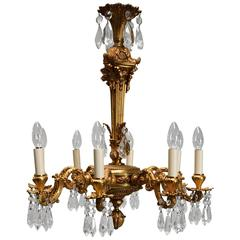 Fine Quality French Eight-Branch Ormolu and Cut Glass Chandelier