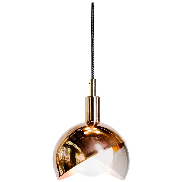 Calimero Small Designed by Dan Yeffet, Contemporary Lamp in Blown Glass & Copper For Sale