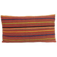 19th Century Colorful Persian Woven Striped Lumbar Decorative Pillow
