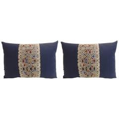 Pair of Vintage Embroidered Asian Decorative Lumbar Pillows