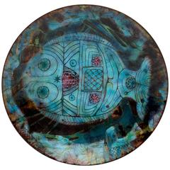 Doris Hall Enamel on Copper Plate with Decorative Fish
