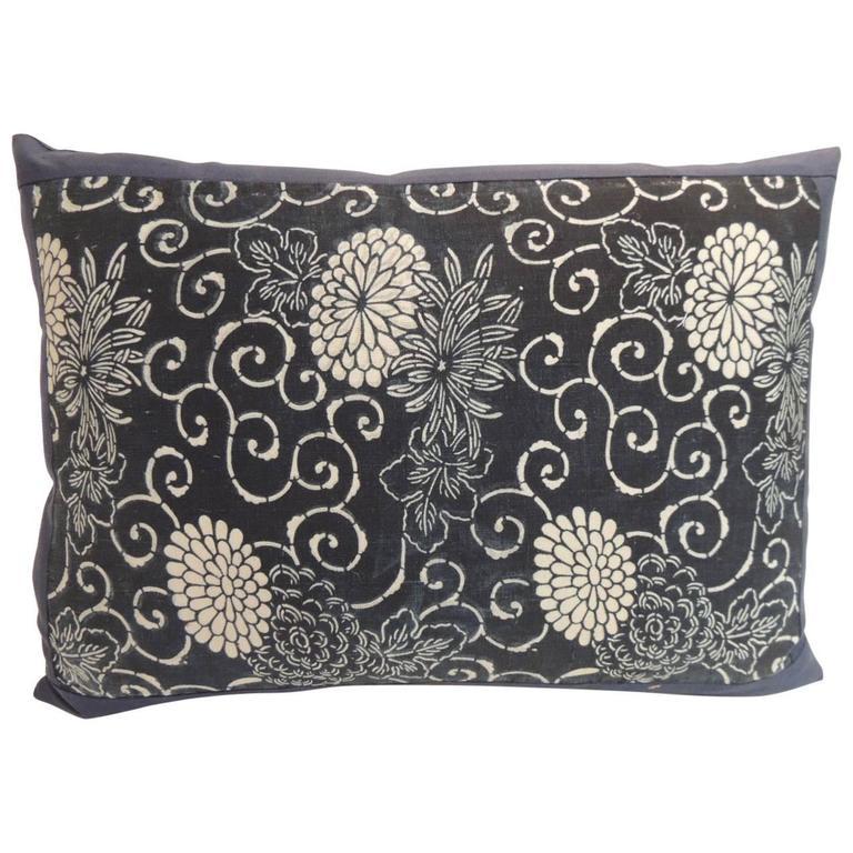 Vintage Japanese Hand-Blocked Chrysanthemum Decorative Bolster Pillow