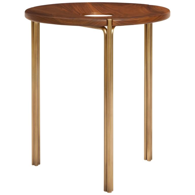 Contemporary Handcrafted Minimalist Modern Stool in Oiled Walnut and Brass 1
