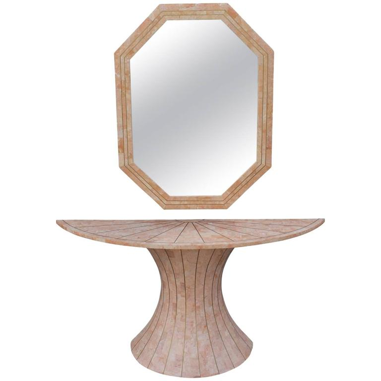 Modern Maitland Smith Tessellated Marble Console Table with Brass Inlay & Mirror