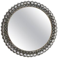 Round Bakalowits Backlit Wall Mirror with Huge Crystals, Austria, 1950s