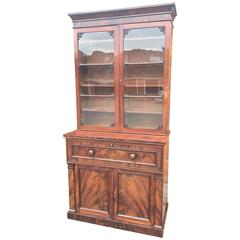 Antique Mahogany Secretaire Bookcase, English, circa 1830